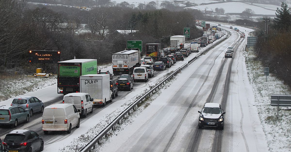Snow covered Motorway in North Wales