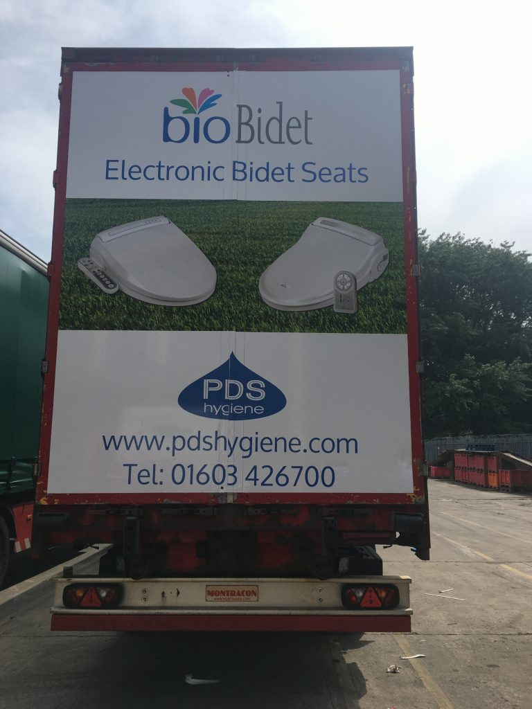 PDS Hygiene truck advertising campaign rear view