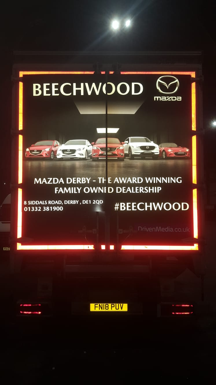 Truck rear for Beechwood Mazda FUll reflective print.