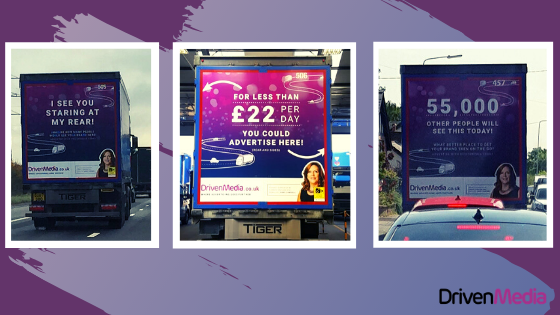 SHows three types of rear adverts with promo text on them