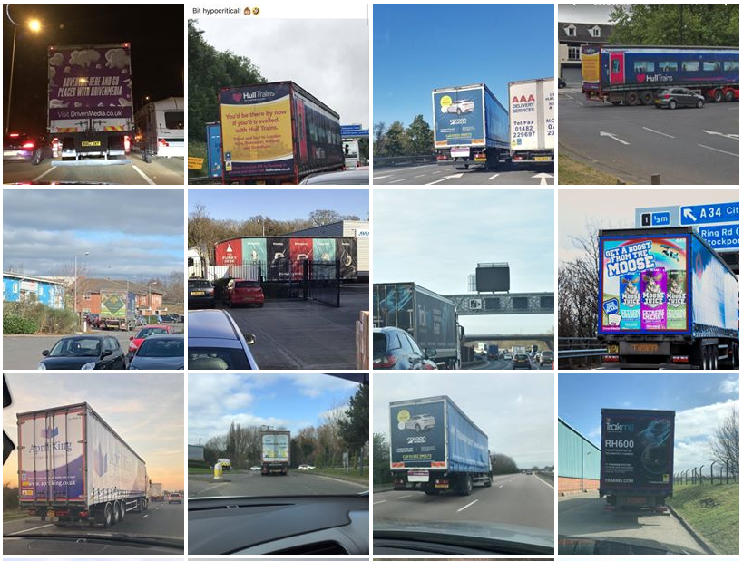 image showing screenshot of various truck advertising campaigns that have been featured in our social media