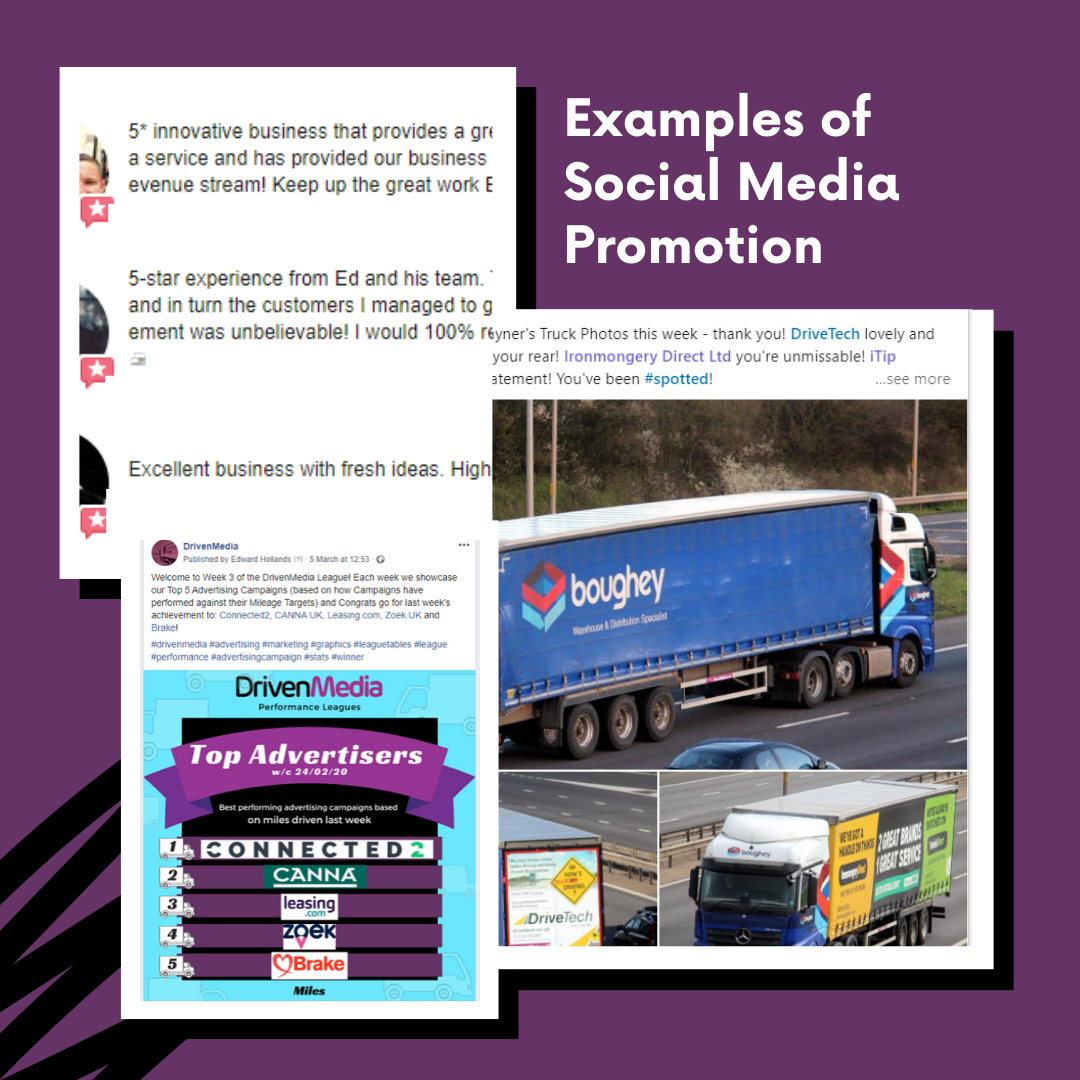 examples of social media promotion for our truck advertising clients