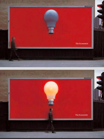 Economist motion activated billboard